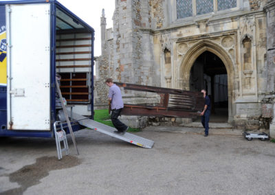 Unrestored Thaxted Lincoln Organ being loaded to go away for restoration